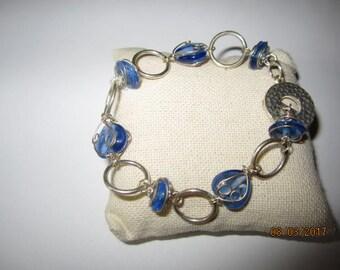 Crystal blue glass beaded Bracelet