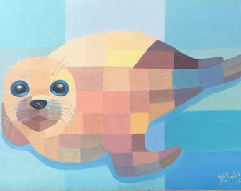 Seal abstract oil painting