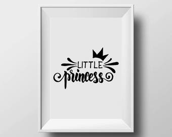 Little Princess,baby girl room decor,monochrome nursery print,kids wall art print,girls prints,scandinavian print,girls room wall print.