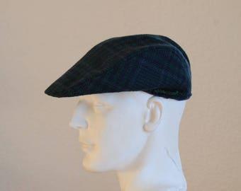 vintage Plaid wool hat size 60 cm