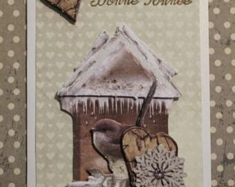 "iridescent 3D bird ""Happy new year"" greeting card"