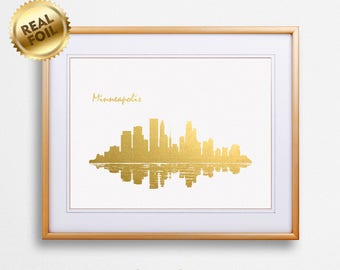 Minneapolis City Skyline Gold Print, Real Gold Foil Print, Minneapolis City Poster, Minneapolis Wall Art, Minneapolis Print, GoldenGraphy