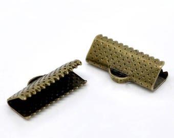 16mm - Pack 50 caps claw/cap for 16 mm Ribbon / clip crimp bronze
