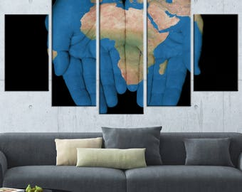African Map in Our Hands  Canvas Art Print and Metal Wall Art Available in Different Sizes (PT12968)