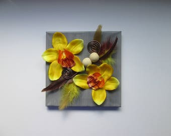 Table with artificial flowers, yellow cymbidium Orchid, 3D, floral art, frame, canvas...