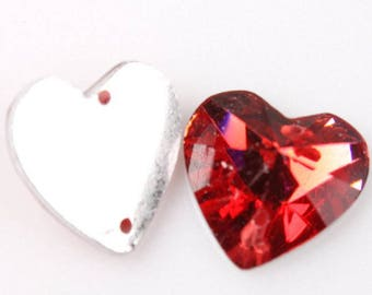 RHINESTONES to sew the shape of red heart 12 mm resin faceted 2 hole 8 rhinestone sewing (H75)