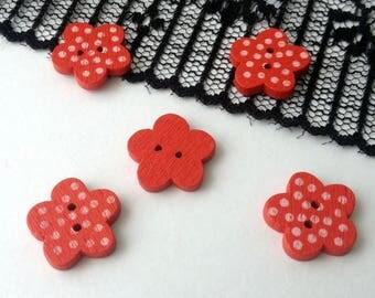 Red wooden flower buttons peas 15 x 3 mm 4 buttons (K67)