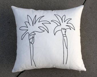 Embroidered palm tree pillow 2