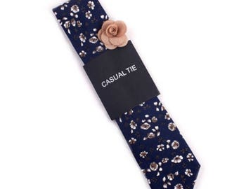 Floral Print Cotton Necktie