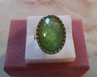 Iridescent light green Adjustable ring (7)