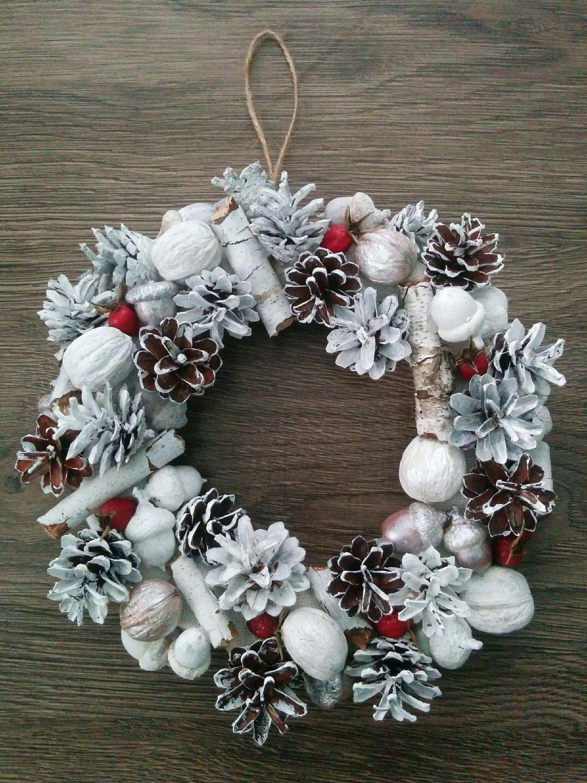 White Christmas Wreath Pine Cone Acorn Walnut Wreath Diy