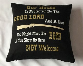 Our House is Protected Cotton Canvas Cushion