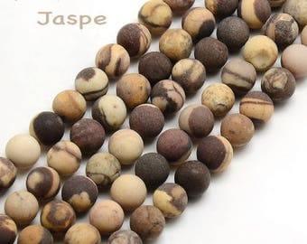 Set of 10 beads natural, Brown, Jasper 6 mm diameter, hole 1 mm