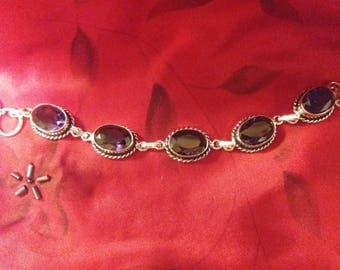 Sterling Silver and African Amethyst Bracelet 6 1/2 to 7 1/2 inches long