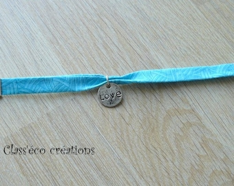 fabric turquoise charm bracelet with love