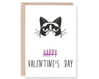 Funny Cat Card | Etsy   Grumpy Cat Valentine