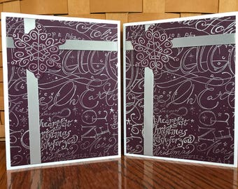 Christmas Cards in a Purple Hue-Set of Two