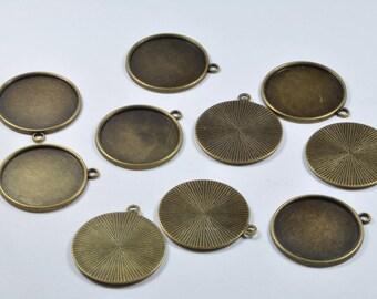 BR941 - Lot de 10 supports de cabochon 25 mm en métal bronze