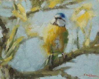 "Jaunty blue tit. Original oil painting. 8""x10"""