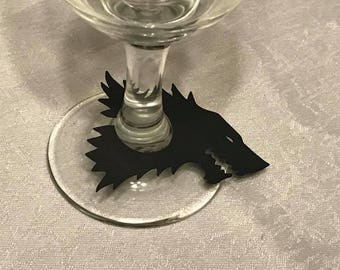 Game of Thrones Stark Wine Glass Tags, Champagne Tags, Wine Glass Charms (Set of 12)