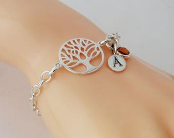 Birthstone Tree Bracelet, Family Gift Mom Bracelet, Family Tree Bracelet, Sterling Silver Tree Bangle, Personalized  Tree Bracelet