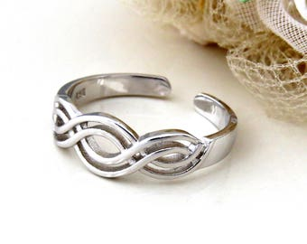 Sterling Silver Double Infinity  Ring, Silver Adjustable Ring, Gift for Women,