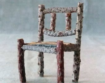 Miniature Rustic Fairy Chair Made From Tree Twigs