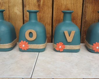 Love Bottles made from up cycled glass bottles