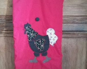 SAC à pains diligently hand embroidered chicken