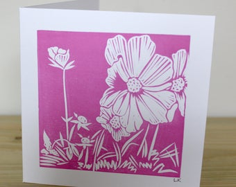 Cosmos Flower Lino Printed Card