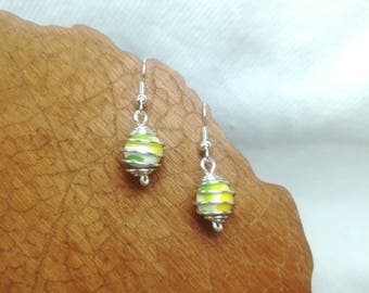 Green/Yellow cage earrings