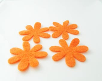 Flower felt orange 4 x 4 cm
