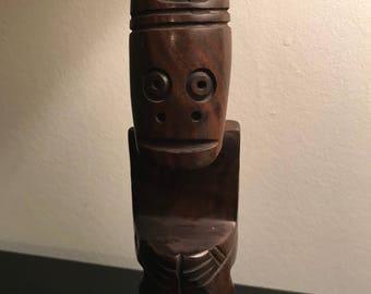Wooden Mayan Aztec Carved Idol Statue Figurine