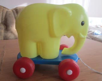 Vintage toy, Plastic elephant, Elephant on wheels, Children's play, Toys for the youngest, Pulling toy, Made in Bulgaria, Old plastic toy