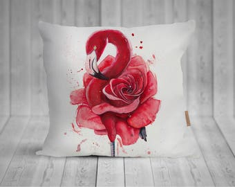 Pillow with flamingo watercolor motif, hand sewn, 50 x 50 cm, with more individualized back