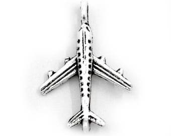x 10 airplane silver metal charms