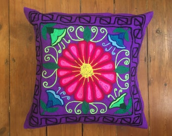 Colourful purple cushion cover, Artisan, bohoo, pillow, south american embroided, peruvian wool.