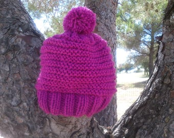 Bonnet girl hand knitted 3 years Pompom color raspberry
