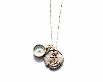 Vintage Style Compass and Anchor Necklace