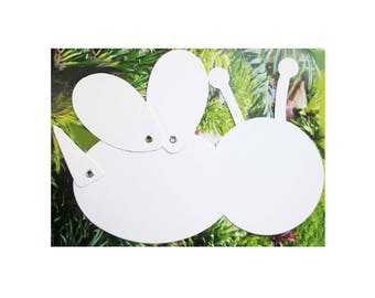 """White hinged """"Ladybug"""" blank, blank card blank for mobile or cardmaking"""