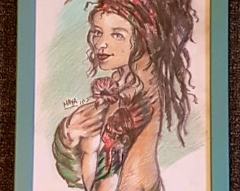 Beautiful print of original drawing of hippie woman. Part of a series titled Freedom Festival.