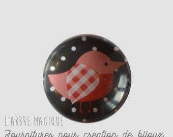 2 cabochons craft birds glass 16 mm - A372