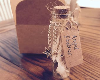 Angel Feather. Feathers Appear When Angels Are Near. Message in a Bottle.