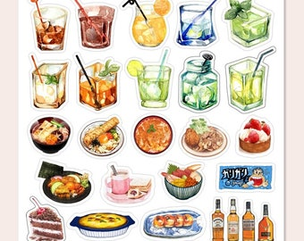 Colourful Summer Drink and food decorative stickers