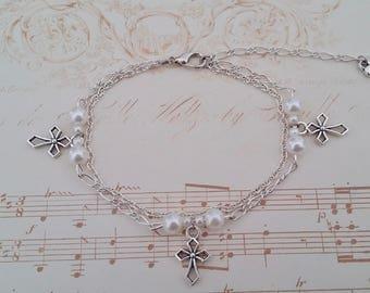 Bracelet réglable croix couleur argent Jésus chrétien Dieu cadeau bracelet croix argent chaine argent amour croyant perle blanche coeur