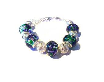Bracelet Green European beads, silver beads