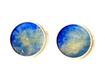 White Stud Earrings with blue and yellow resin cabochons colored sand