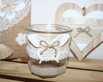 white linen cotton butterfly and lace or pencil pot