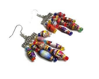 Boucles d'oreille ethniques, style indien, boucles d'oreille, pendants d'oreilles, dormeuses, perles papier multicolores, graphique