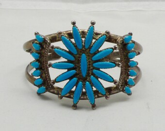 Vintage Zuni Native American Turquoise & Sterling Silver Cuff Bracelet